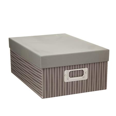 Decorative Photo Storage Box: Taupe Stripes