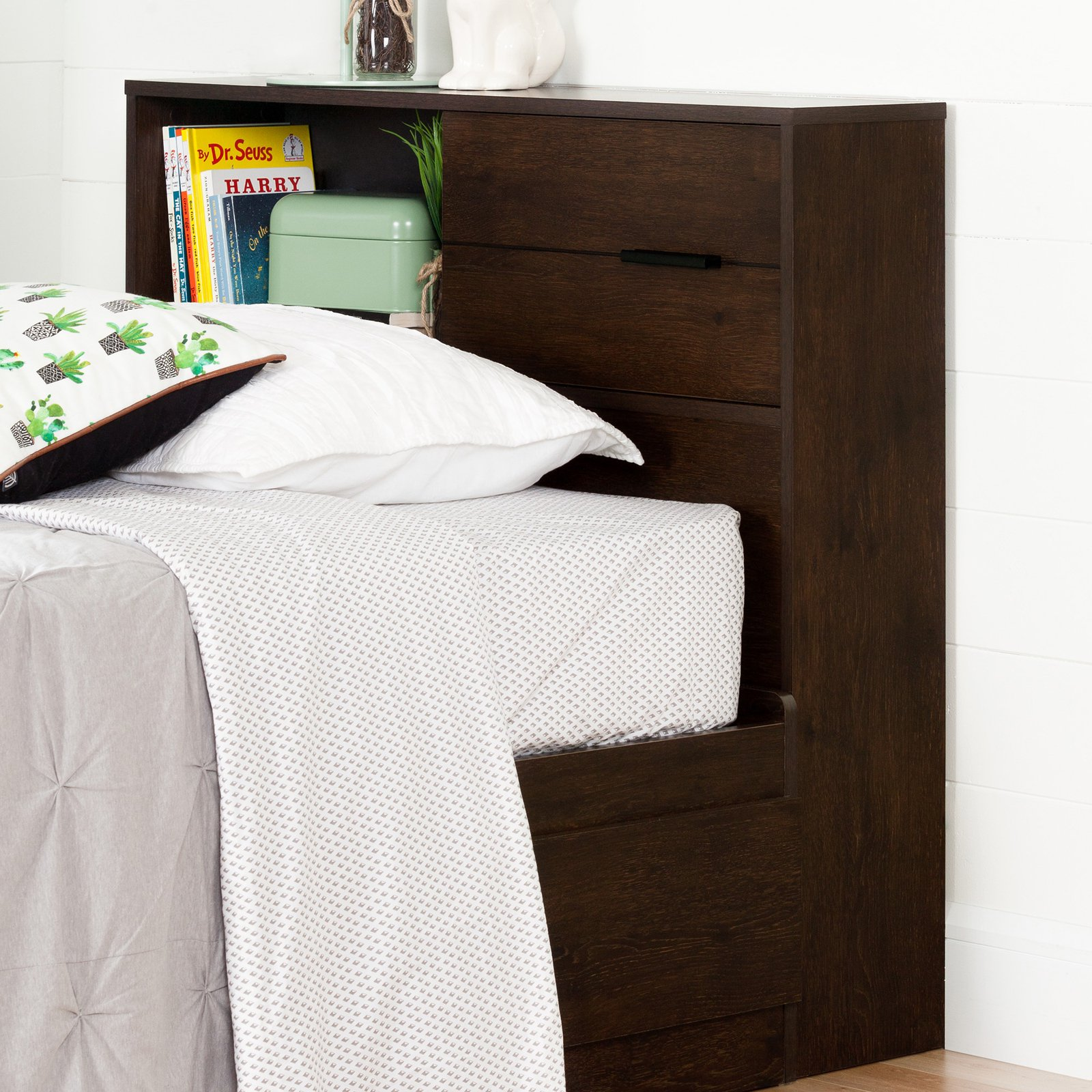 "South Shore Fynn Twin Bookcase Headboard (39""), Multiple Finishes"