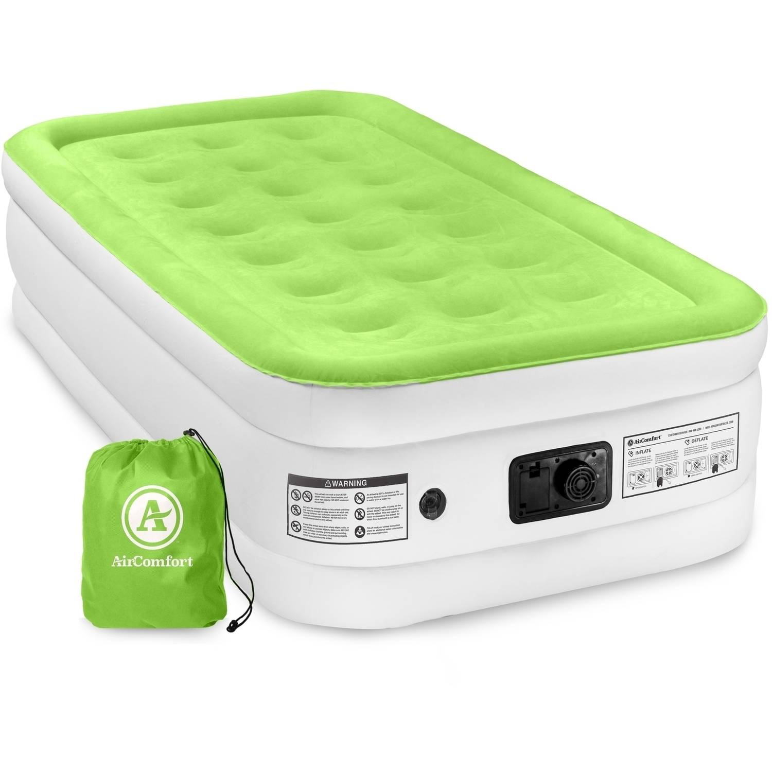 Air Comfort Dream Easy Twin Size Raised Air Mattress With Built In Pump Walmart Com Walmart Com