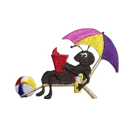 Black Ant - Beach Chair/Umbrella - Iron on Applique/Embroidered Patch