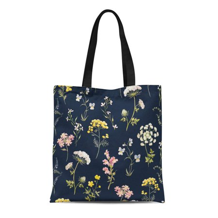 NUDECOR Canvas Tote Bag Watercolor Floral Pattern Delicate Flower Wildflowers Pink Tansy Pansies Durable Reusable Shopping Shoulder Grocery Bag - image 1 de 1