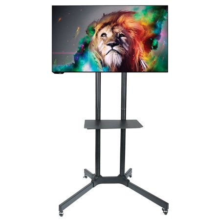 V Stand with Wheels Heavy Duty Universal Rolling TV Cart Fits Most 32 – 70 Inch LED LCD TVs with Shelf and Mount. 132 LBS Load Capacity TV Trolley. Up to VESA 600x400 (Electronic Trolley)
