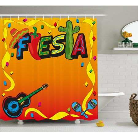 Fiesta Shower Curtain Latino Pattern With Swirled Stripe Frame Musical Instruments Confetti Design Fabric Bathroom Set Hooks Multicolor