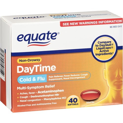 Equate Multi-Symptom Cold/Flu Relief On Drowsy Day Time 40 Ea