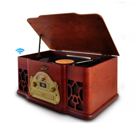Pyle PTCD64UBT - Bluetooth Vintage Classic-Style Turntable Speaker System with Vinyl-to-MP3 Recording, CD Player, MP3/USB Reader, AM/FM (Vintage Stereo)
