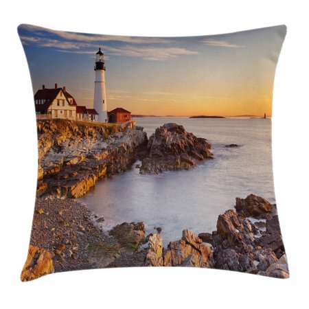 East Coast Lighthouses - United States Throw Pillow Cushion Cover, Cape Elizabeth Maine River Portland Lighthouse Sunrise USA Coast Scenery, Decorative Square Accent Pillow Case, 16 X 16 Inches, Light Blue Tan, by Ambesonne