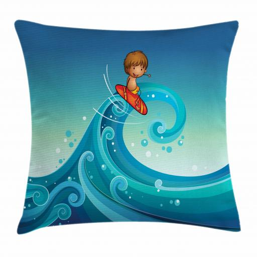 Kids Sports Throw Pillow Cushion Cover, Surfing Baby Giant Waves of the Sea Hobby Boy Little Champion Print, Decorative Square Accent Pillow Case, 16 X 16 Inches, Blue and Turquoise, by Ambesonne