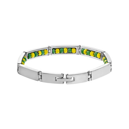 Greek Cuff Bracelet (Stainless Steel Link Santeria Inside Green Yellow Orula Babalawo Bracelet )