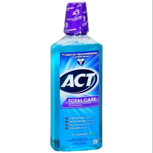 ACT Total Care Anticavity Fluoride Mouthwash Icy Clean Mint 18 oz (Pack of 2)