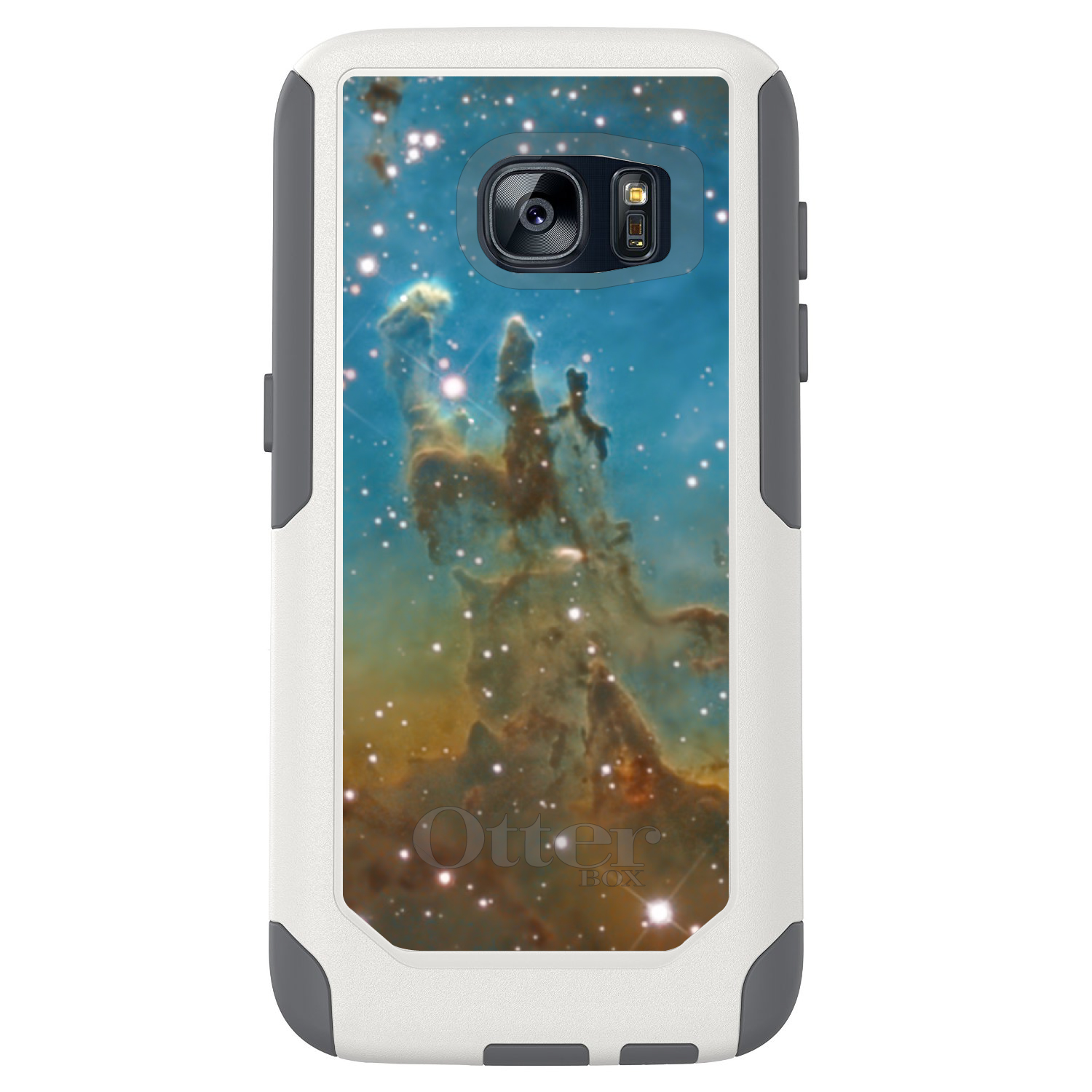 DistinctInk™ Custom White OtterBox Commuter Series Case for Samsung Galaxy S7 - Eagle Nebula Blue Green