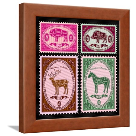 Horse Postage - Set of Vector Postage Stamps with Boar, Bison, Deer, Horse Framed Print Wall Art By 111chemodan111