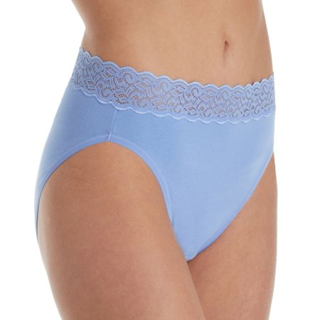 Women's Vanity Fair 13395 Flattering Lace Cotton Stretch Hi-Cut Brief Panty (Vanity Fair Brief Panties)