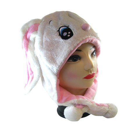 Plush Rabbit Animal Hat - Rabbit Hat with Ear Flaps and Poms