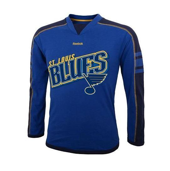 Reebok NHL Hockey Youth St. Louis Blues Long Sleeve Jersey Tee Blue by