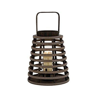 Modern Brown Polished Attractive Wood Glass Lantern Home Decor 76158
