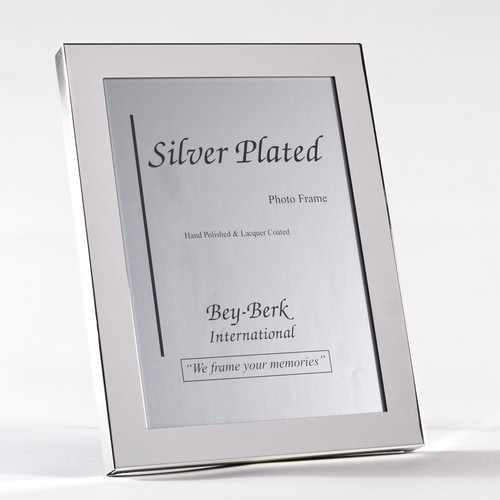 """Bey Berk Silver Plated 8""""X10"""" Picture Frame With Easel Back"""