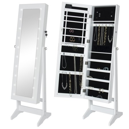 Best Choice Products LED Lighted Mirrored Jewelry Cabinet Armoire W/ Stand- White ()