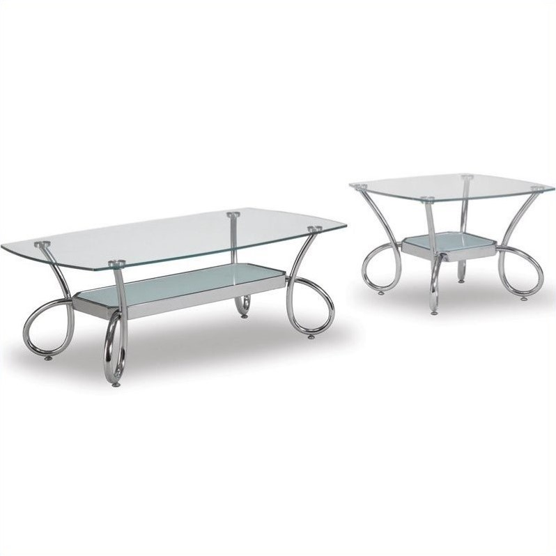 Global Furniture USA 559 2 Piece Glass Coffee Table Set In Chrome