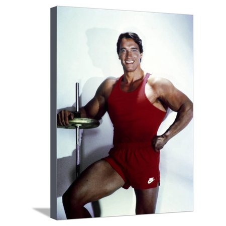 Arnold Schwarzenegger posed in Red Gym Outfit Stretched Canvas Print Wall Art By Movie Star