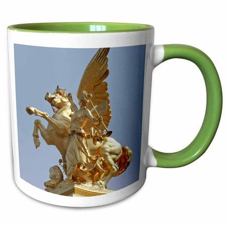 3dRose Pegasus statue, Pont Alexander III, Paris, France - EU09 WSU0037 - William Sutton - Two Tone Green Mug, 15-ounce