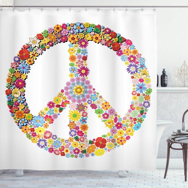 Groovy Shower Curtain Fl Peace, Peace Sign Bathroom
