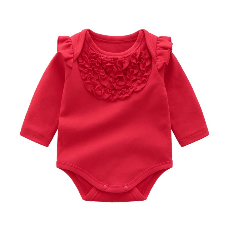 Autumn Winter Baby Girl Bodysuits Casual Long Sleeve Solid ...