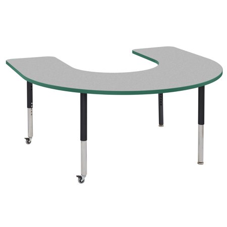 Horseshoe Table Decorations (ECR4Kids 60in x 66in Horseshoe Premium Thermo-Fused Adjustable Activity Table Grey/Green/Black - Super)