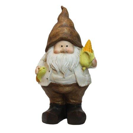 "12.25"" Polyresin Decorative Gnome Holding a Half Peeled Stalk of Yellow Corn (Decorative Corn Stalks)"