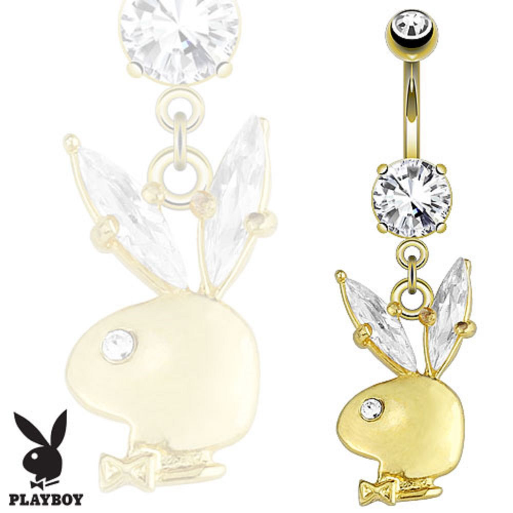 Belly Button Ring Playboy Bunny Gemmed Ear Dangle 14kt Gold Plated Navel Ring