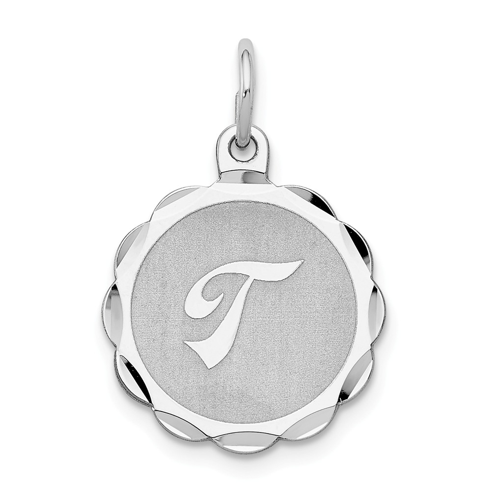 Sterling Silver Engravable Brocaded Initial T Charm (0.9in long x 0.6in wide)
