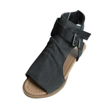 f6c8366c5 Mosunx - Mosunx Women Fish Mouth Shoes Sandals Flat Heel Solid Ankle Strap  Slipper Sandals - Walmart.com