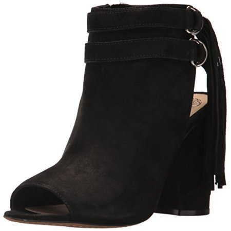 Vince Camuto Catinca Ankle Boot Black Leather Boho Chic Open Toe Ankle Bootie (9) Open Front Horse Jumping Boots