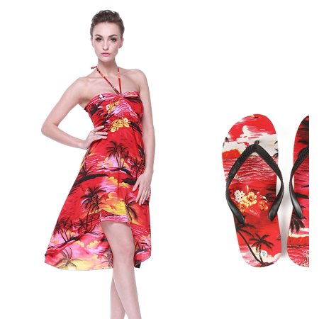 Lady Matching Hawaiian Luau Outfit Aloha butterfly Dress and Flip Flops in Sunset Red butterfly Dress L Sandal 9