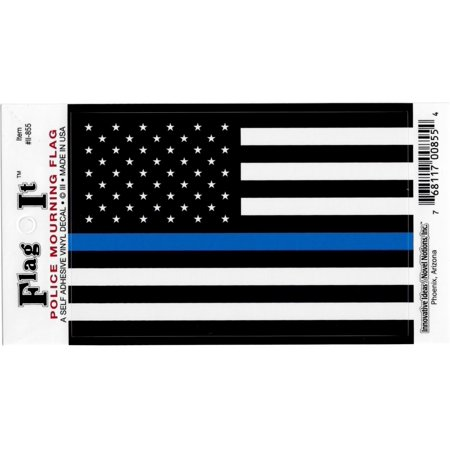 United States Thin Line Flag Car Decal Sticker [Pack of 2 - Black/White/Blue - 3.25