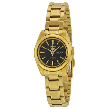 - Seiko 5 Automatic Black Dial Gold-tone Ladies Watch SYMK22