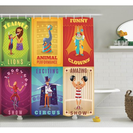 Circus Decor Shower Curtain Set, Circus Characters With Trained Animals The Strong Man Trapeze Artist Retro Show Design, Bathroom Accessories, 69W X 70L Inches, By Ambesonne