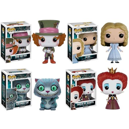 Mad Hatter - Alice - Cheshire Cat - Queen Of Hearts (Deluxe Collector Set of 4) Alice In Wonderland Funko Pop Vinyl Live Action Figure Disney Movie Merchandise Toy Collectible