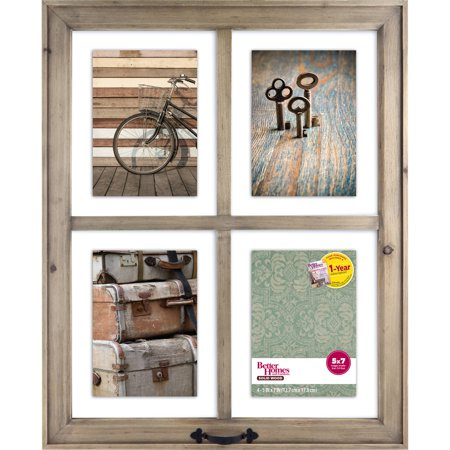 better homes and gardens 4 opening rustic windowpane collage frame - Window Pane Picture Frames
