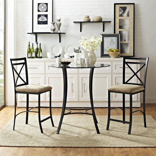 Dorel Living Valerie 3-Piece Counter-Height Glass and Metal Dining Room Set by Dorel Asia