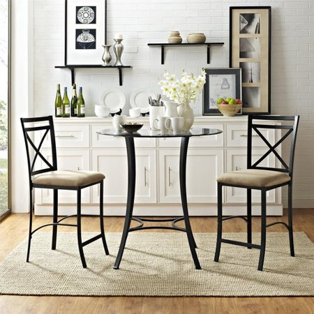 Dorel Living Valerie 3 Piece Counter Height Glass And Metal Dining Set