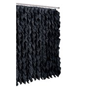 Waterfall Shabby Chic Ruffled Fabric Shower Curtain (Black)