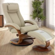 Oslo Collection by Mac Motion Hamar Recliner and Ottoman with Cervical Pillow in Cobblestone Top Grain Leather