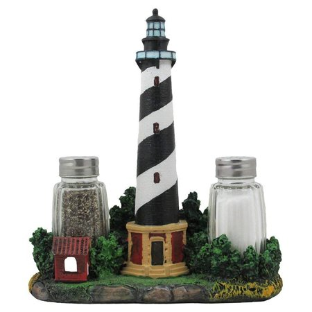 Lighthouse Collectible Plates (Nautical Cape Hatteras Lighthouse Glass Salt and Pepper Shaker Set Figurine with Holder in Decorative Kitchen Decor Sculptures and Collectible.., By Home n)