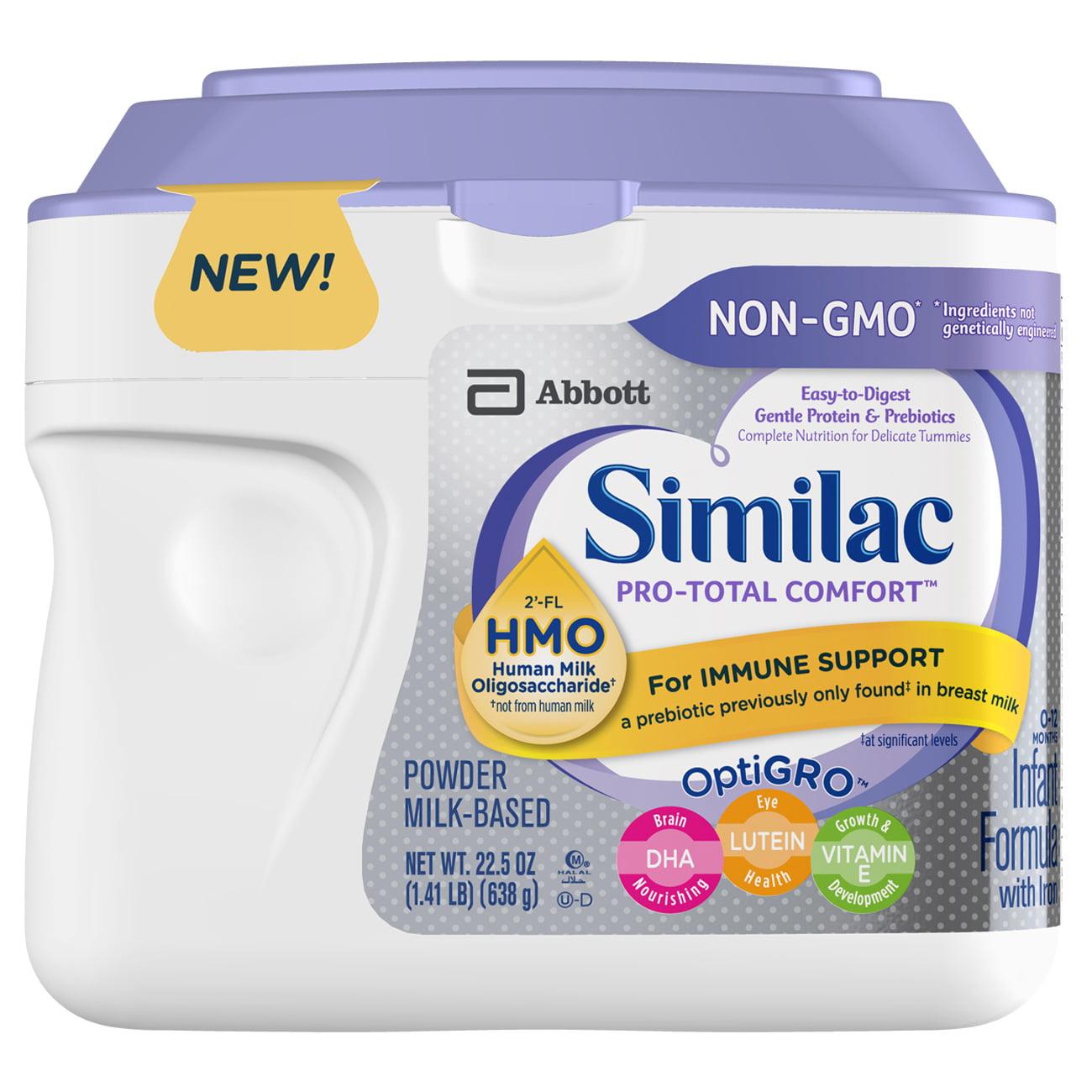 Similac Pro-Total Comfort Non-GMO Infant Formula Powder, 22.5 oz Tub, 4 Count by Similac