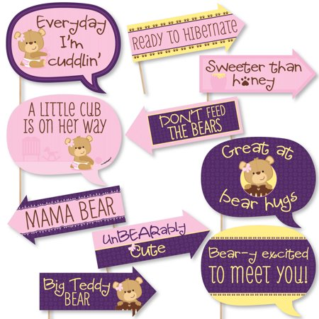 Funny Baby Girl Teddy Bear - Baby Shower Photo Booth Props Kit - 10 Piece - Care Bear Baby Shower