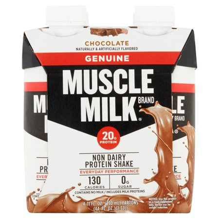 Muscle Milk Geniune Protein Shake, 20 Grams of Protein, Chocolate, 11 Oz, 4 Ct