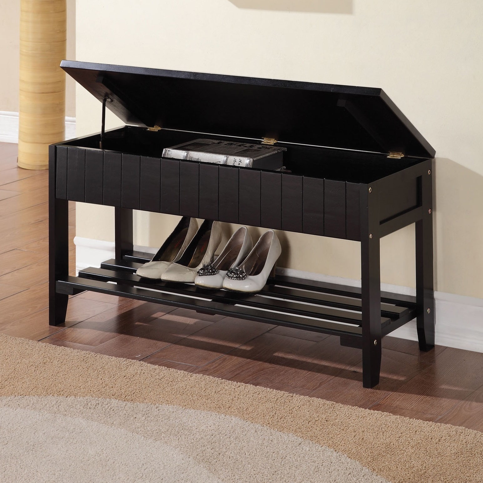 OH Black Solid Wood Storage Bench with Shoe Shelf