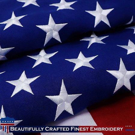 Premium Us Flag (G128 – 6x10 feet American Flag | Heavy Duty Spun Polyester 220GSM – Embroidered Stars, Sewn Stripes, Tough, Durable, Indoor/Outdoor, Vibrant Colors, Brass Grommets, Premium US USA Flag)