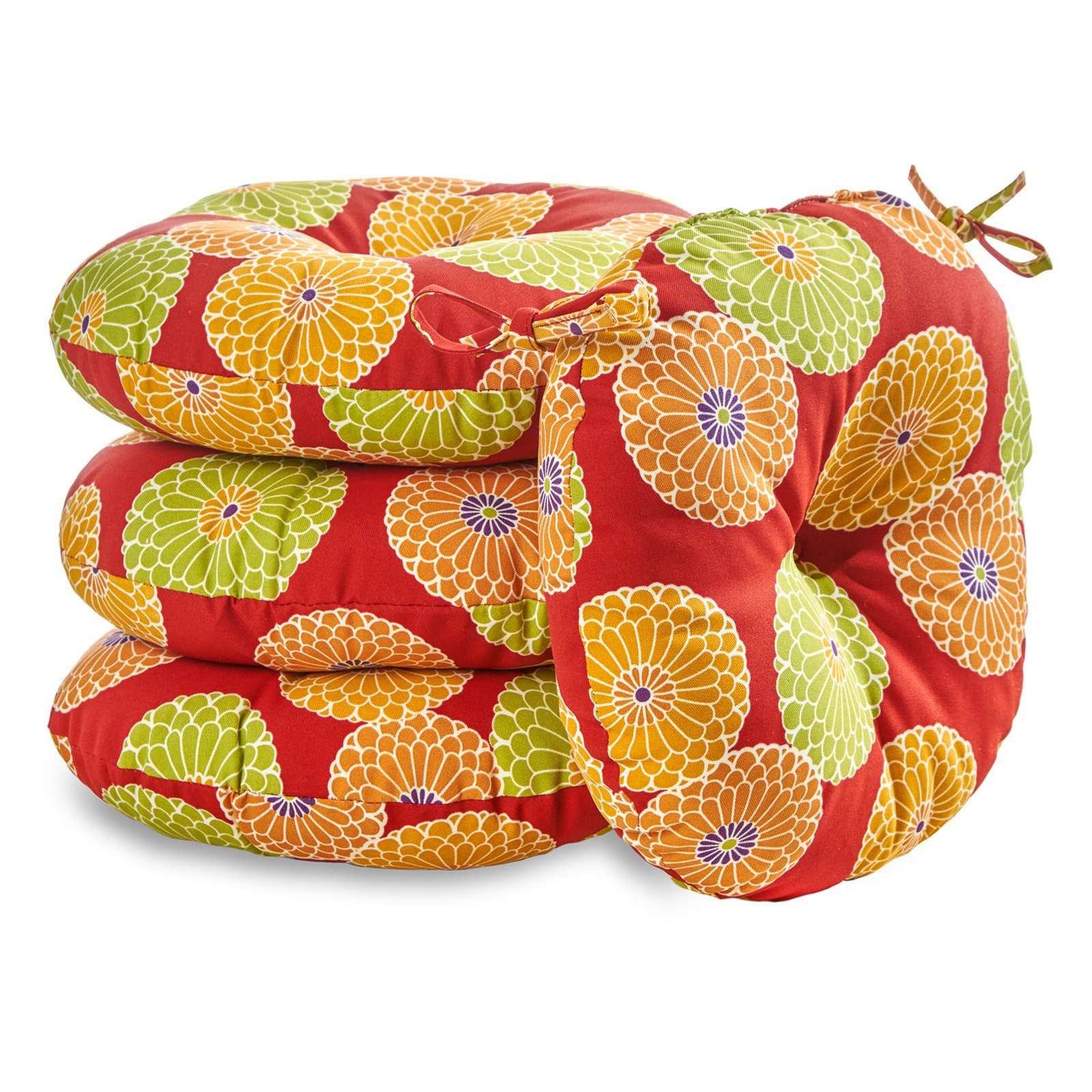 """Greendale Home Fashions 18"""" Round Outdoor Bistro Chair Cushion, Set of 4 - multiple colors"""
