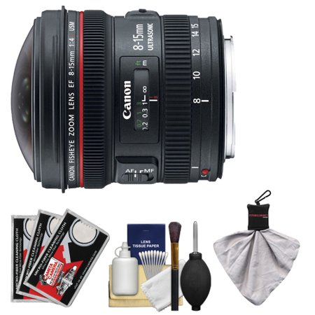 Canon Ef 8 15Mm F 4 0 L Usm Fisheye Zoom Lens With Case   Ew 77 Lens Hood   Canon Cleaning Kit For Dslr Cameras